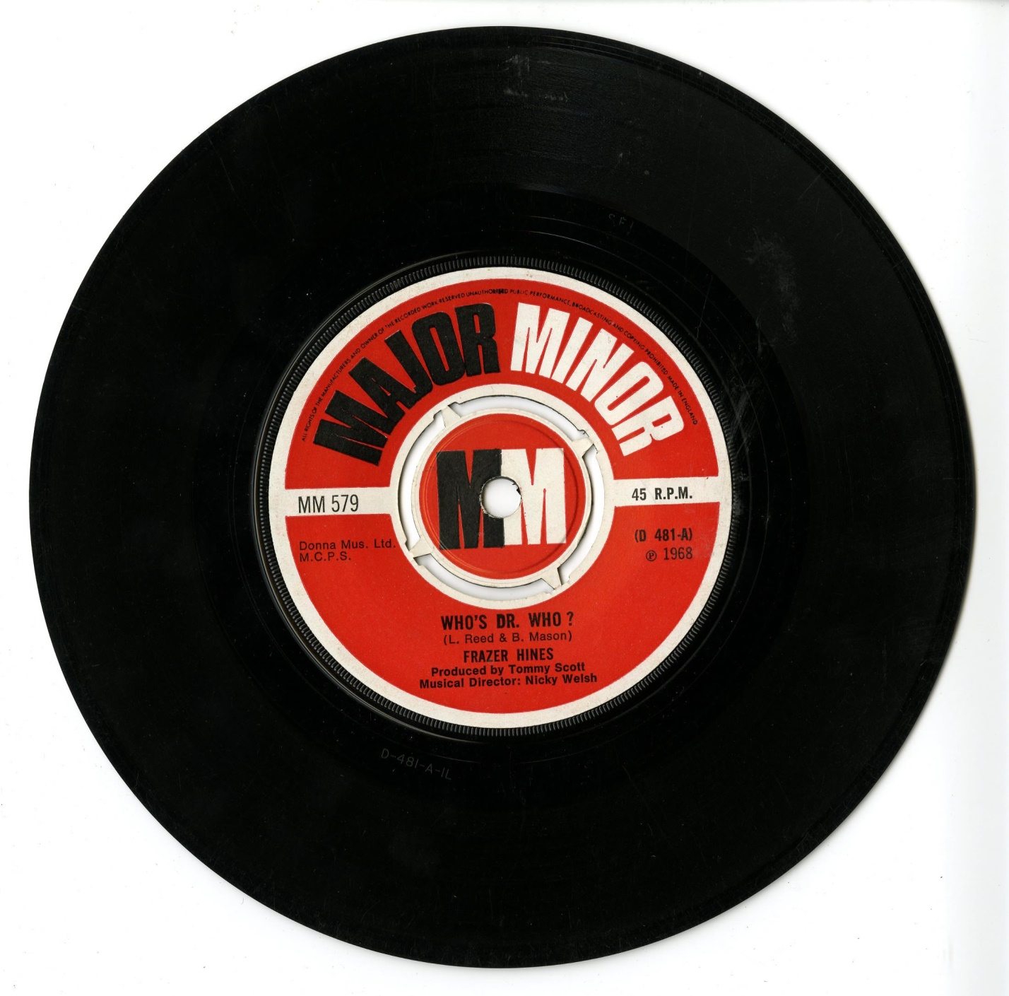 Who's Dr. Who? by Frazer Hines, released by Major Minor Records (catalogue no. MM579)