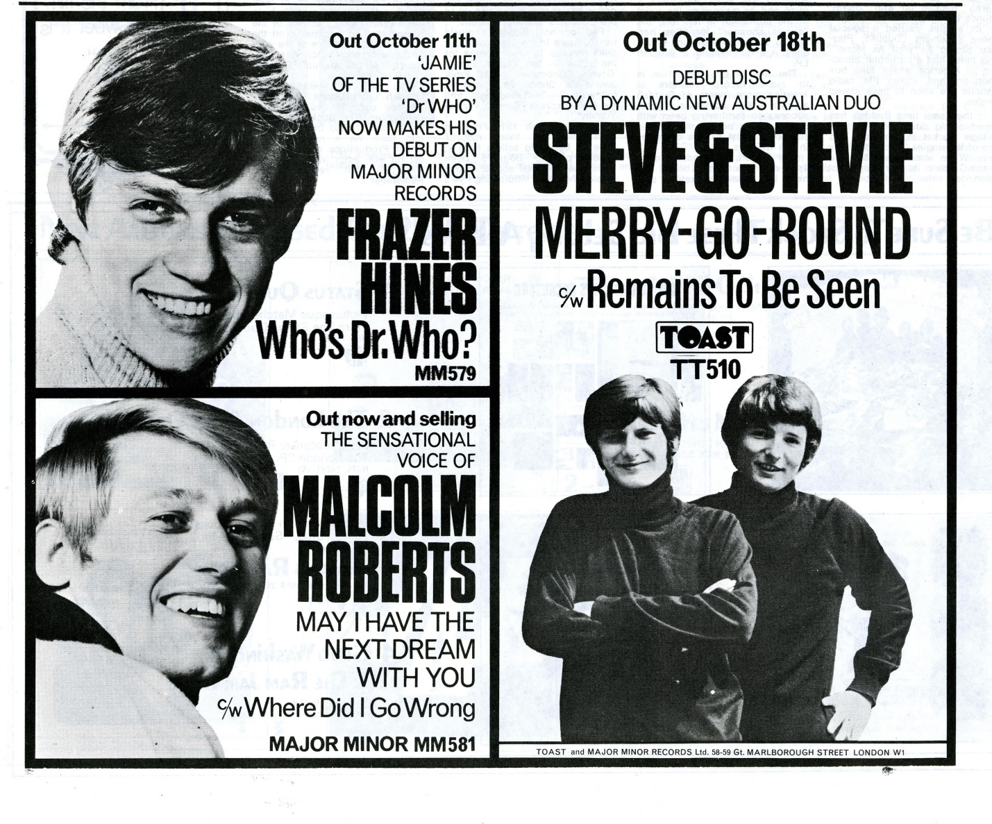 Ad. for Who's Dr. Who? in Record Retailer, 16 October 1968