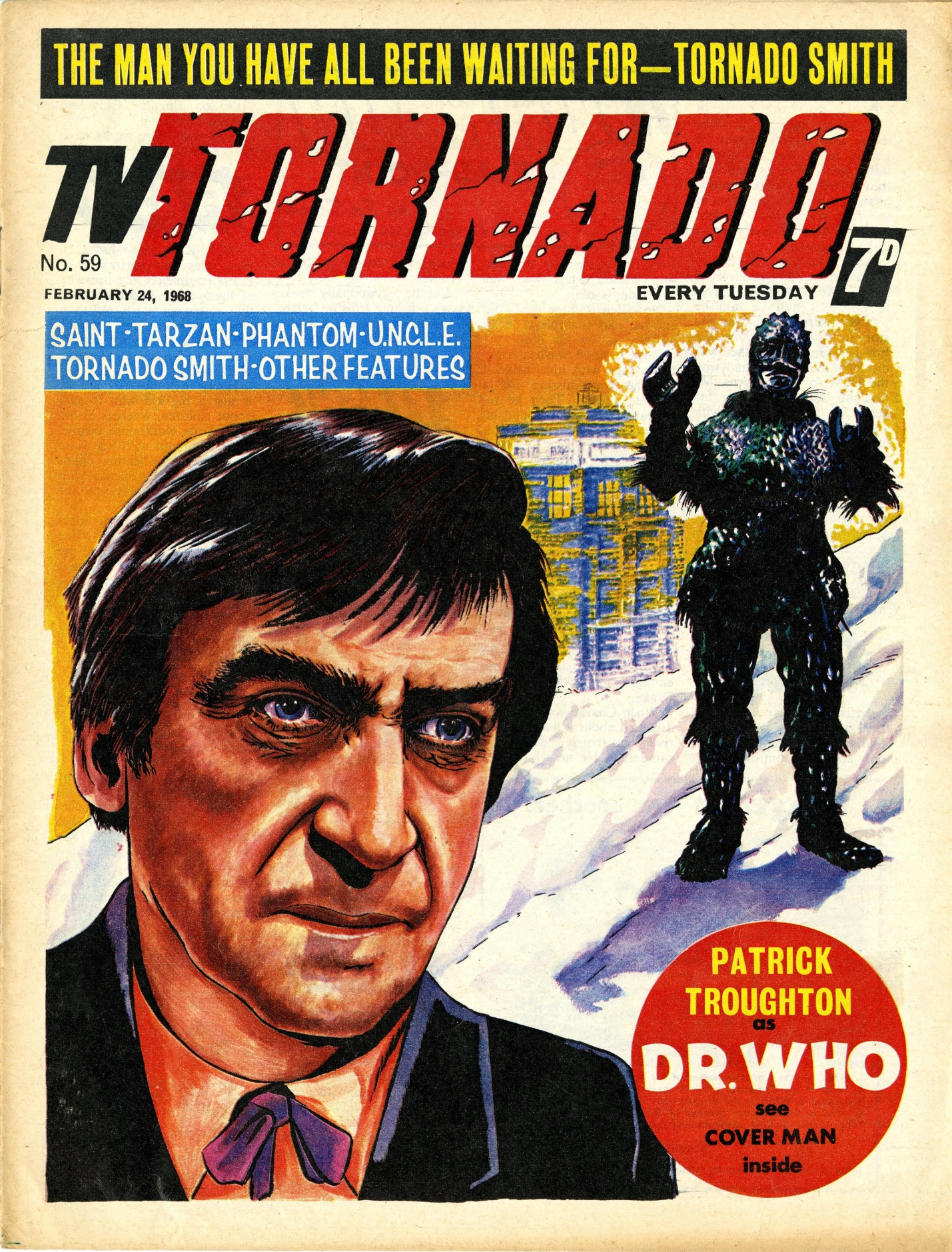 TV Tornado no. 59, 24 February 1968 with Doctor Who cover art by Mick Anglo