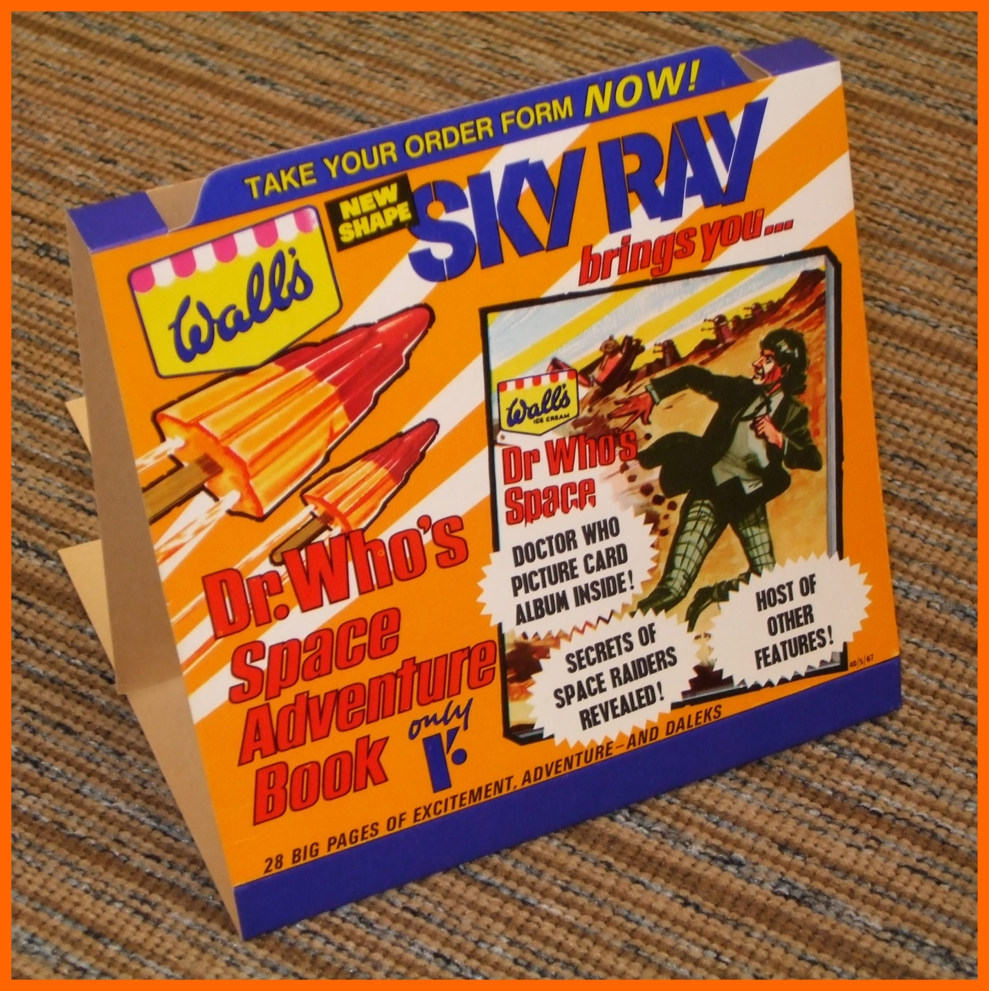 WANTED - Shop counter display that held the order forms for the Wall's Sky Ray Space Adventures Book (image courtesy of Richard Bignell)