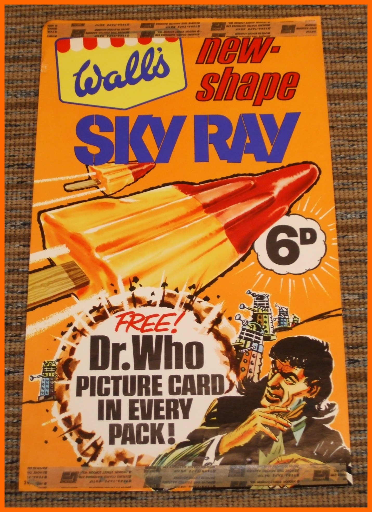 WANTED - Shop window display card for the Wall's Sky Ray Dr. Who promotion (image courtesy of Richard Bignell)