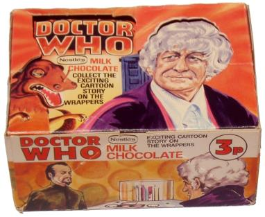 Nestle Doctor Who promotion, counter display box, original withdrawn version (image courtesy of Phil Bhullar)