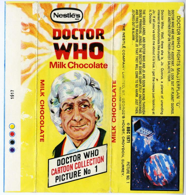 Nestle Doctor Who Milk Chocolate wrapper no. 1, unpriced version