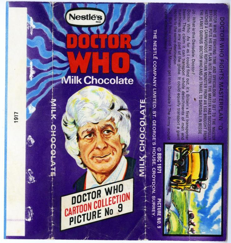 Nestle Doctor Who Milk Chocolate wrapper no. 9, unpriced version