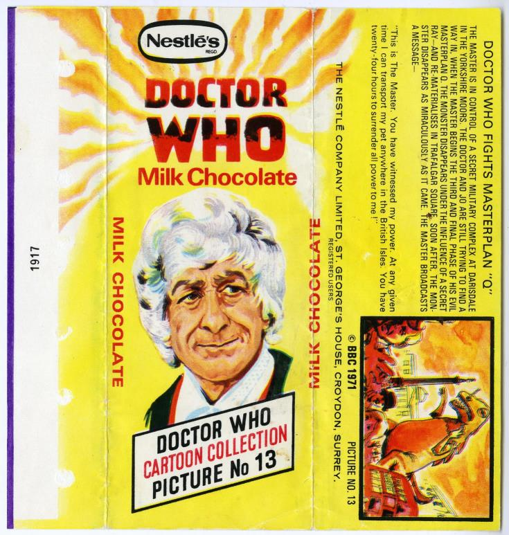 Nestle Doctor Who Milk Chocolate wrapper no. 13, unpriced version