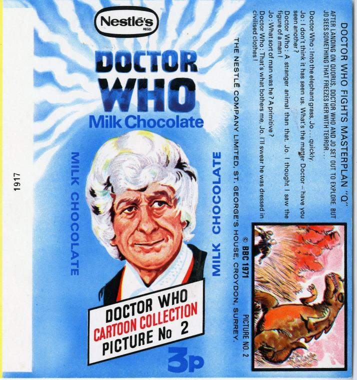 Nestle Doctor Who Milk Chocolate wrapper no. 2, original priced version