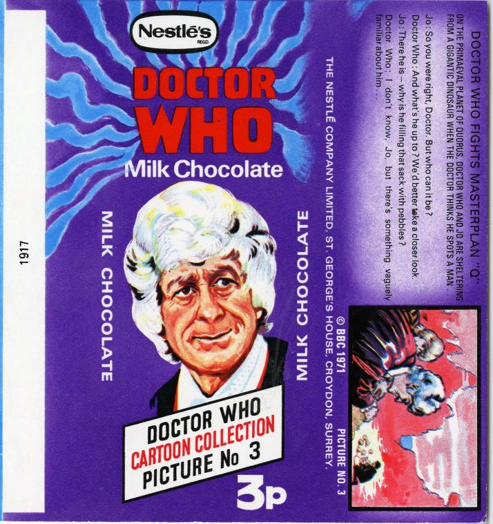 Nestle Doctor Who Milk Chocolate wrapper no. 3, original priced version