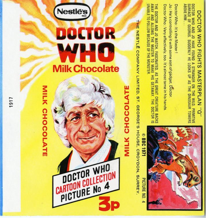 Nestle Doctor Who Milk Chocolate wrapper no. 4, original priced version