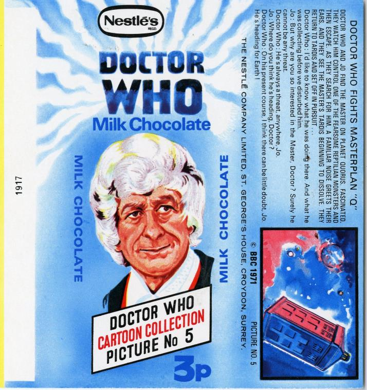 Nestle Doctor Who Milk Chocolate wrapper no. 5, original priced version