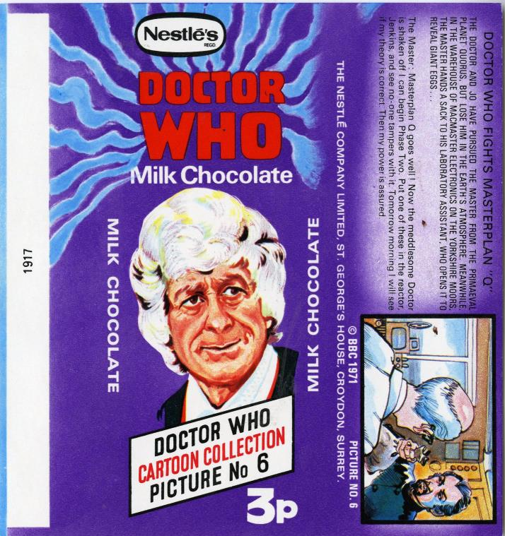 Nestle Doctor Who Milk Chocolate wrapper no. 6, original priced version