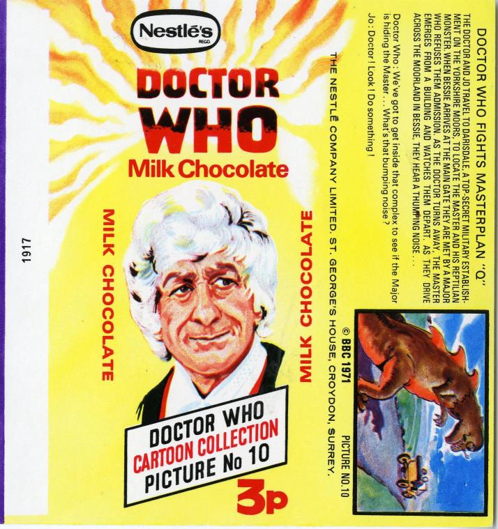 Nestle Doctor Who Milk Chocolate wrapper no. 10, original priced version