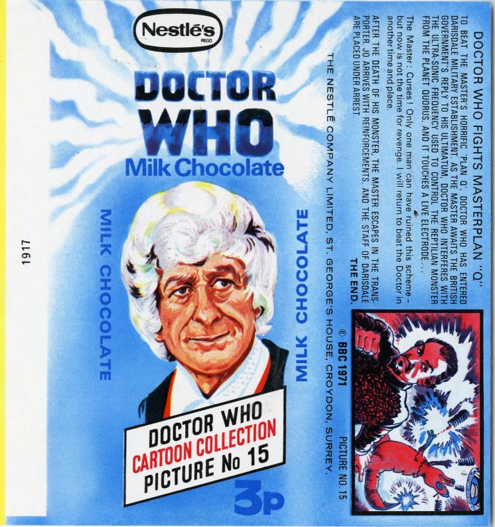 Nestle Doctor Who Milk Chocolate wrapper no. 15, original priced version