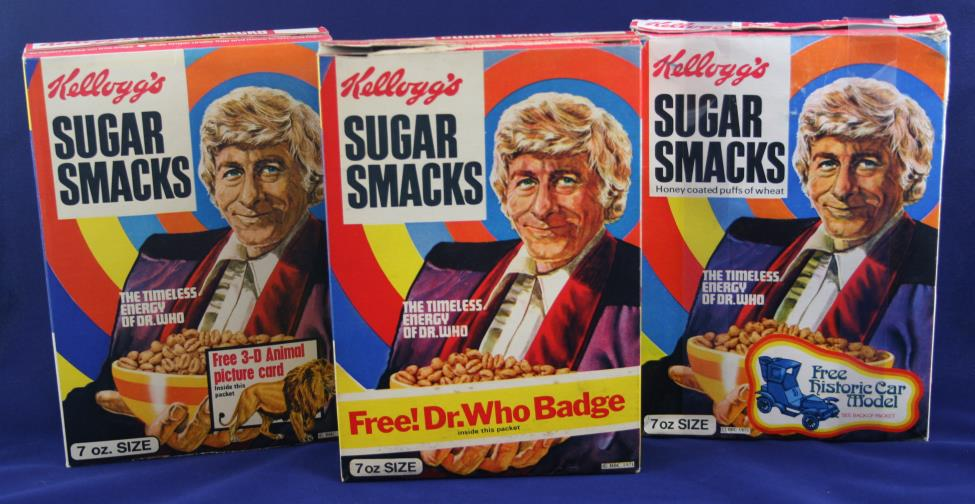 Kellog's Sugar Smacks Doctor Who promotion, three 7 oz. packs