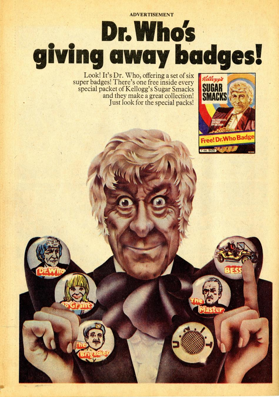 Ad. for Kellog's Sugar Smacks Doctor Who badge promotion, from Tiger, 6 November 1971