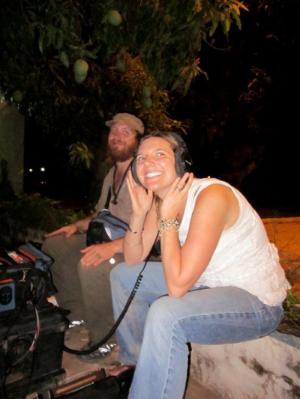Kiley Kraskouskas in Bamako, Mali directing the documentary, The Last Song Before the War.