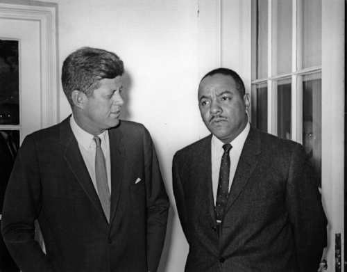 Carl T. Rowan with President John F. Kennedy, Jr.  (Photo Credit: JFK Memorial Library)