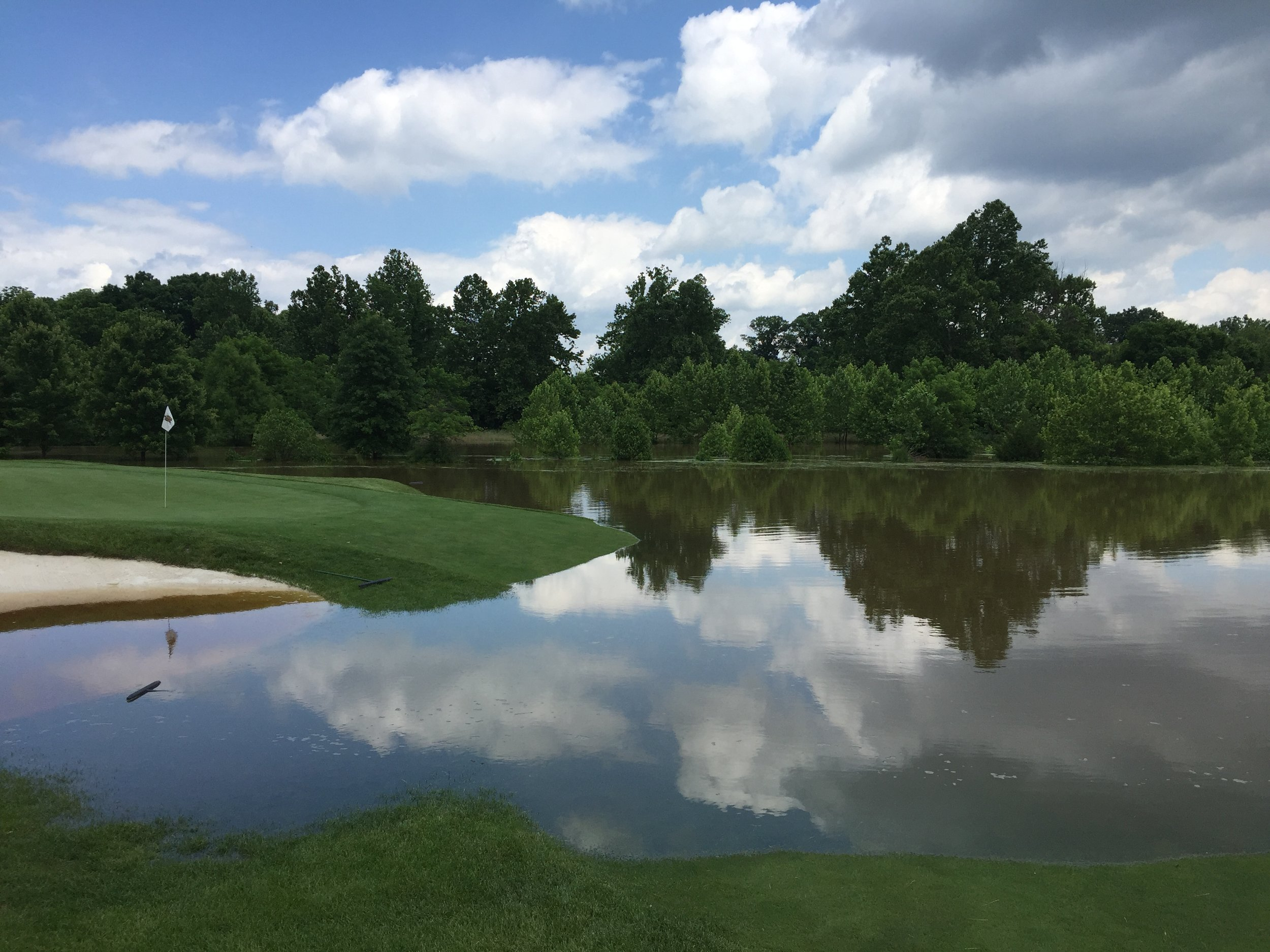 There isn't a water hazard at this hole - except today!  (Photo credit: Greg Valentine)