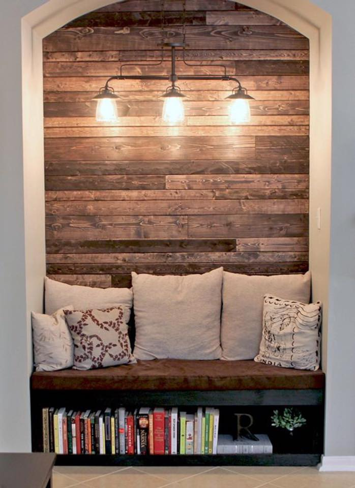 accent wall reading bench just home