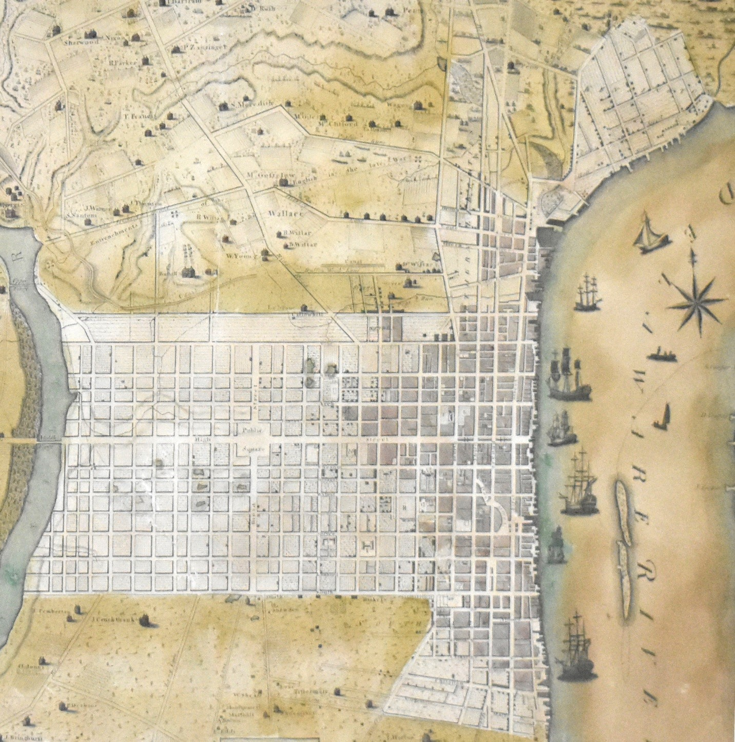"Image caption: Detail fromP.C. Varlé, ""To the Citizens of Philadelphia This Plan of the City and its Environs Is respectfully dedicated by the Editor."" Philadelphia: [1796]. Map engraved by Robert Scot. Girard College Historical Collections."