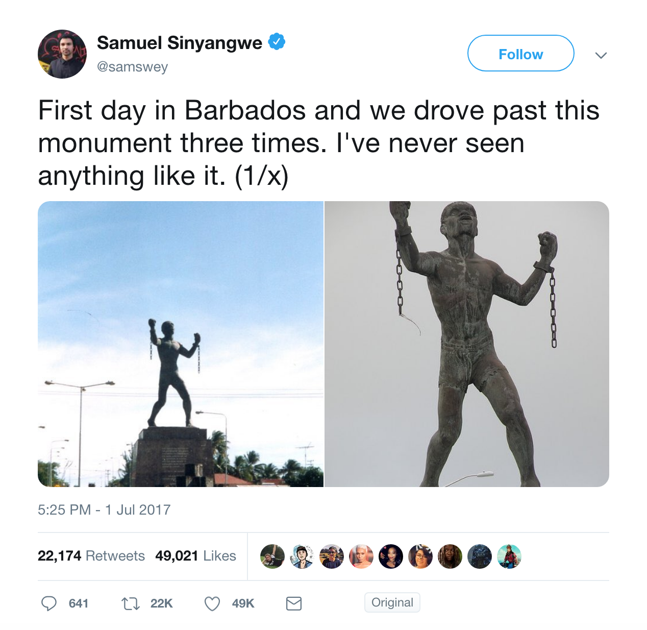 Screenshot of the initial tweet by  @samswey  in the slave rebellion monuments discussion on Twitter, July 1, 2017. (Screenshot by author)