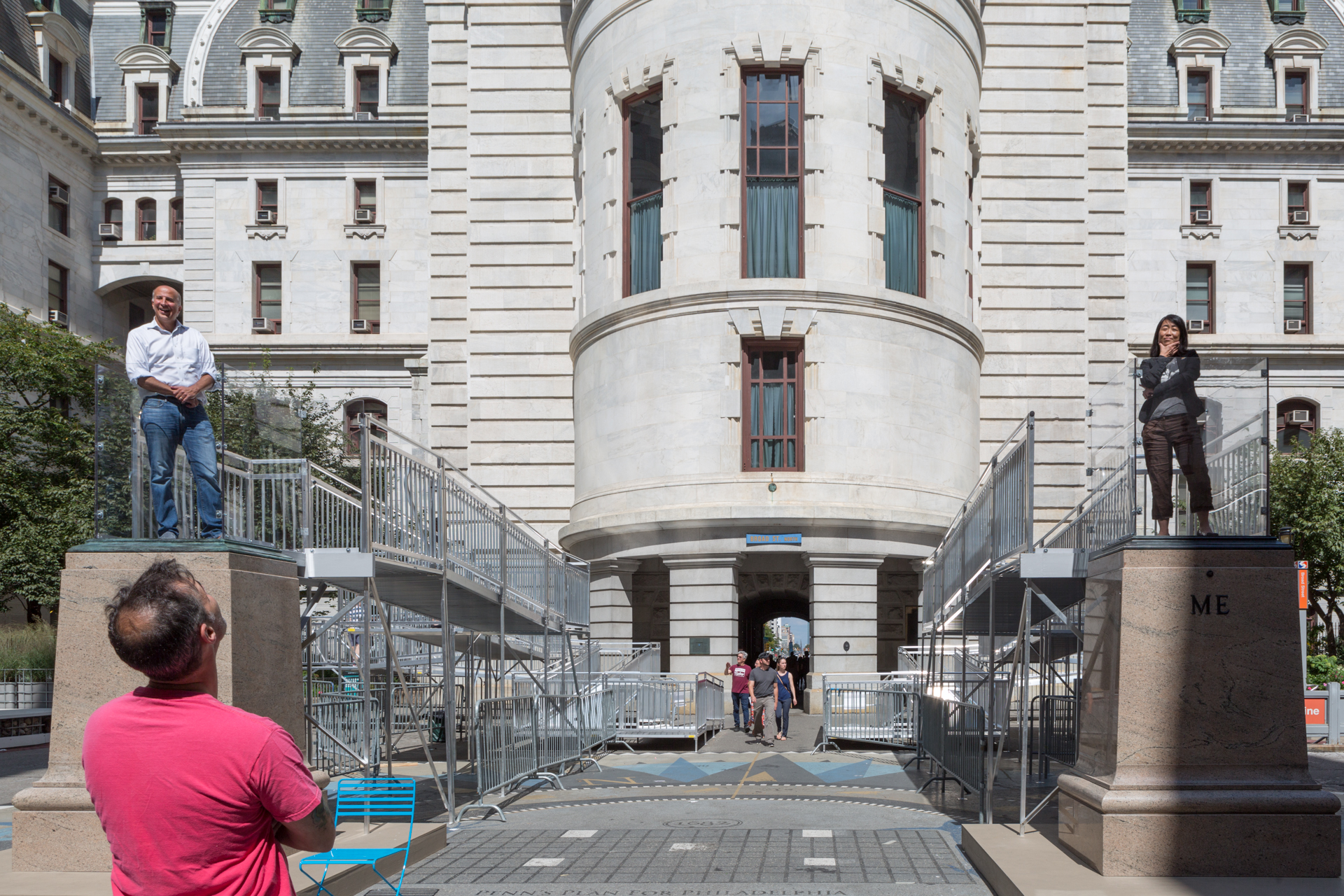 Two Me  Mel Chin Born in 1951 • American • Based in Egypt, North Carolina Granite, steel, bronze, glass, commercial-grade aluminum ramp system, marine plywood, pigment, non-slip coatings, and people City Hall   Photo: Steve Weinik/Mural Arts Philadelphia