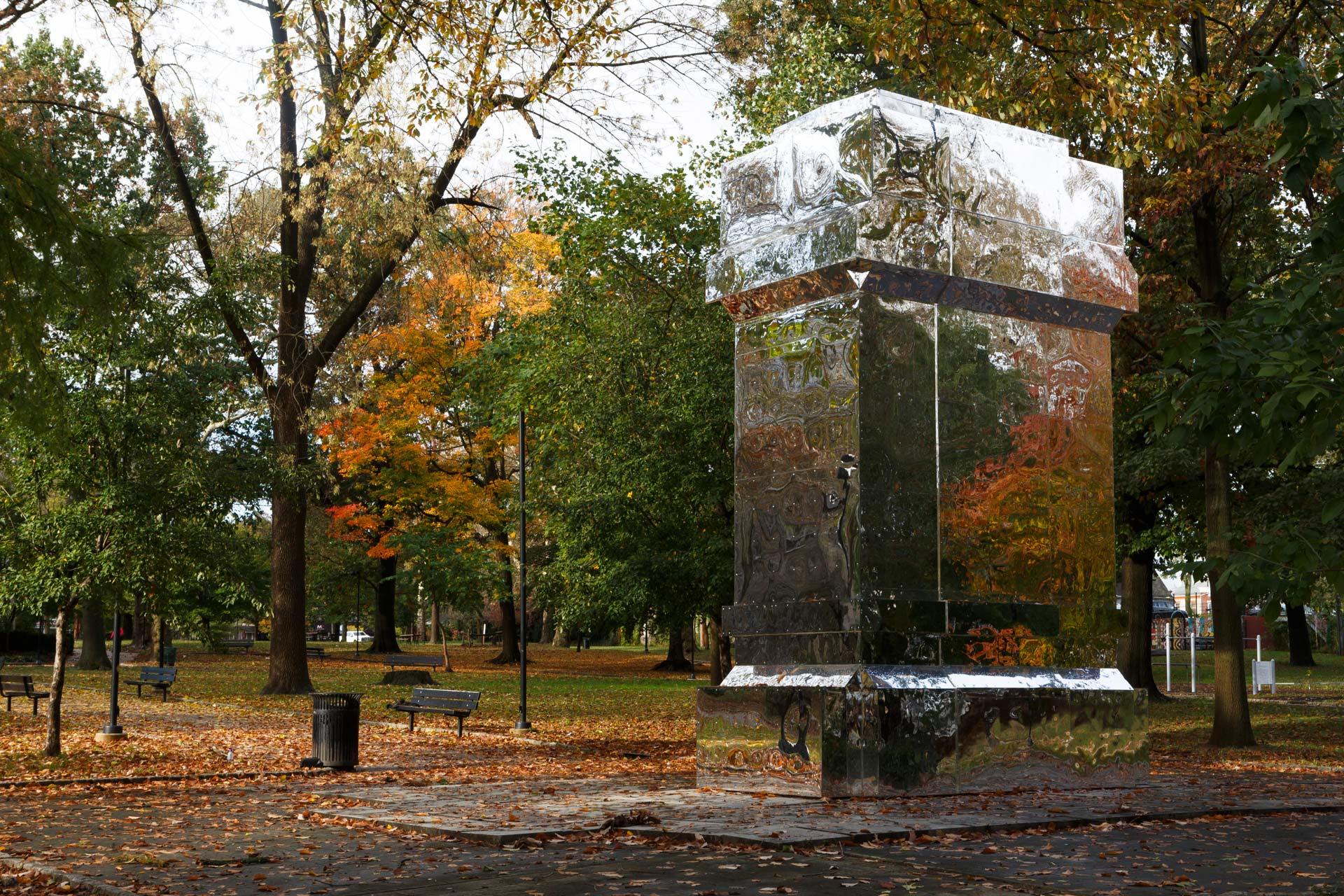 The Battle Is Joined  Karyn Olivier Born in 1968 • Trinidadian and American • Based in Philadelphia Acrylic mirror, wood, screws, and adhesive Vernon Park   Photo: Steve Weinik/Mural Arts Philadelphia