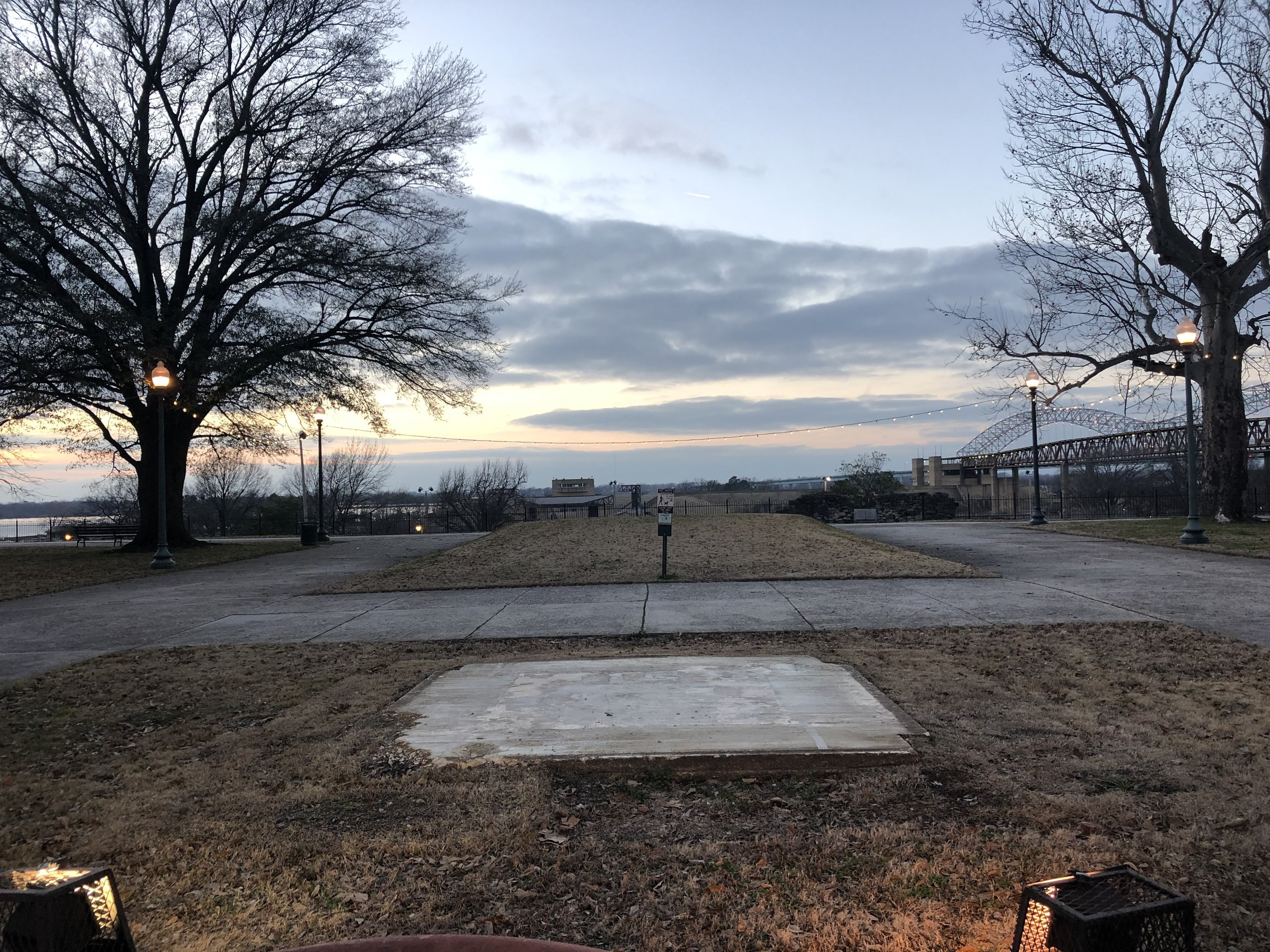 Empty concrete slab where the tall bronze statue of the President of the Confederate States of America Jefferson Davis once stood, Memphis Park, Memphis, Tennessee. (Photo by author)