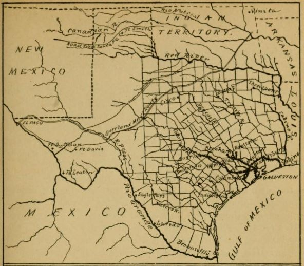 Texas in 1866 , illustration from Elizabeth Custer's  Tenting on the Plains; or General Custer in Kansas and Texas.  New York: C.L. Webster and Company, 1893, p.19.