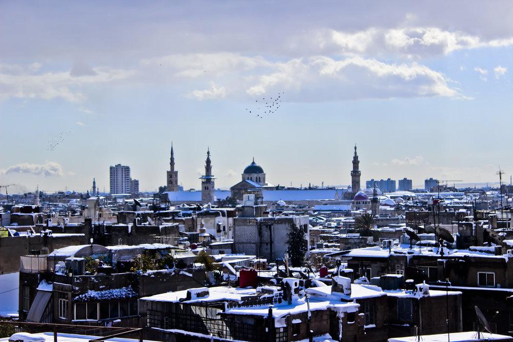 "Damascus-Old City - Umayyad Mosque- دمشق- المدينة القديمة - الجامع الأموي,"" Damascus before the war. (Hani Zaitoun ( CC BY-SA 3.0 ))"