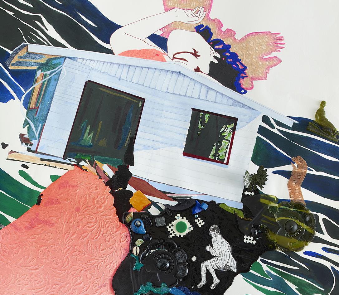 """Reflection Pond,"" Nicole Awai, 2019  Acrylic paint, resin, graphite, nail polish, plastic, shells, crystalline solids and paper  38"" x 50"" . Photo Credit: Max Yawney"