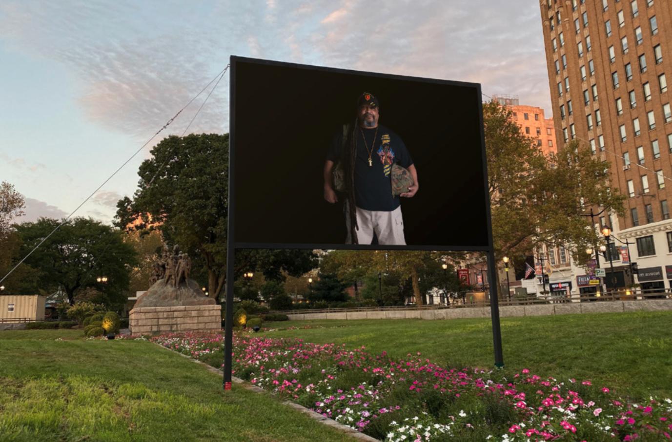 """Jamel Shabazz, Portrait of """"Larry 'Free' Dyer,""""  Veterans Peace Project , Military Park, 2019. (Monument Lab)"""