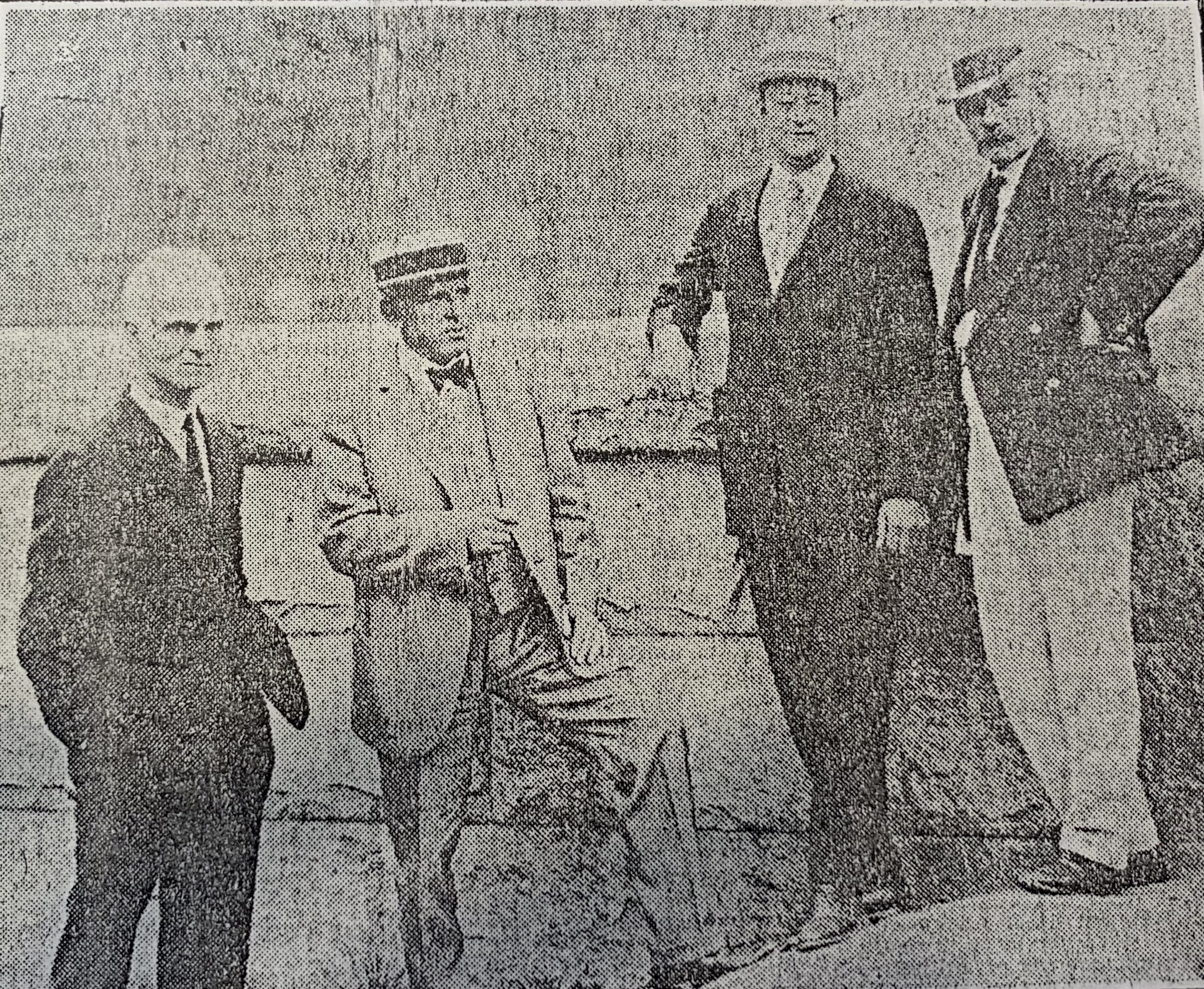 Fig1: James Walker, City Commissioner Gillem, Ralph E. Lum, Gutzon Borglum and the Monument's base. (Source:  Newark Evening News , Sept 4, 1925)