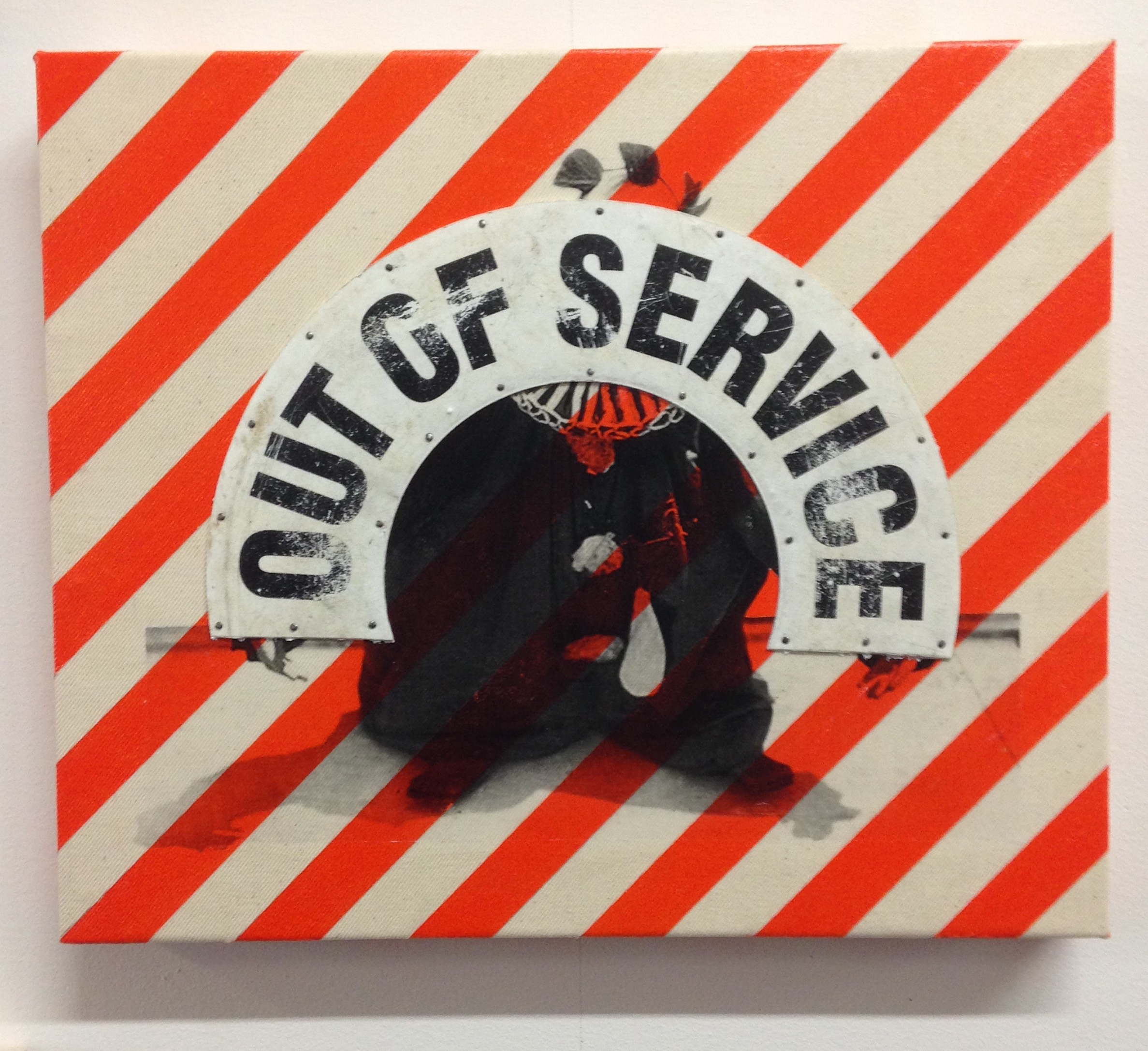 OUT OF SERVICE , 2015, Mixed media on panel, 13 x 15 1/2 inches.