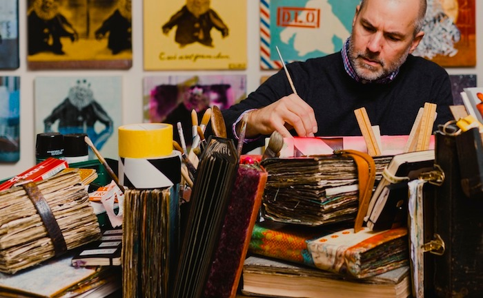 1. Brad Thomas_Working on Artist's Books 2017_Photography by Caylon Hackwith.jpg