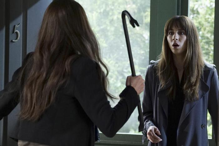 Mary about to attack when she realizes it's just Spencer.