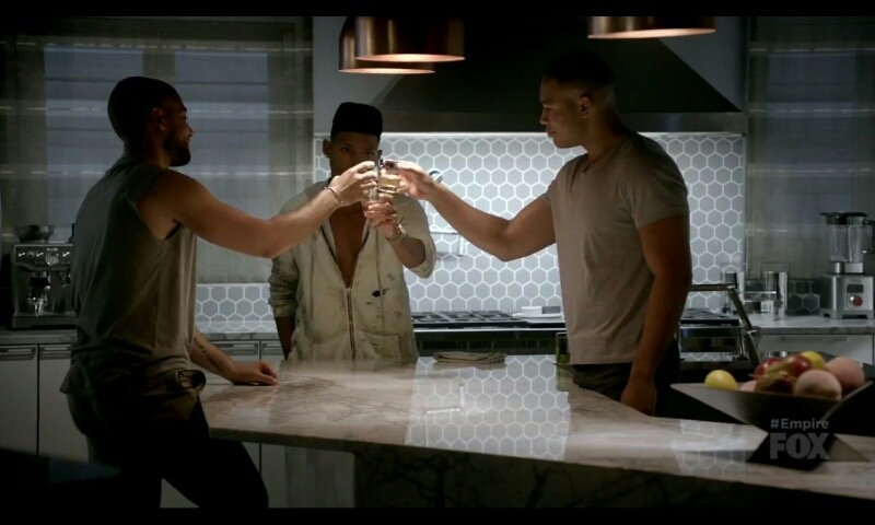 Jamal, Hakeem and Andre toast to the new life of Empire, Baby Bella.