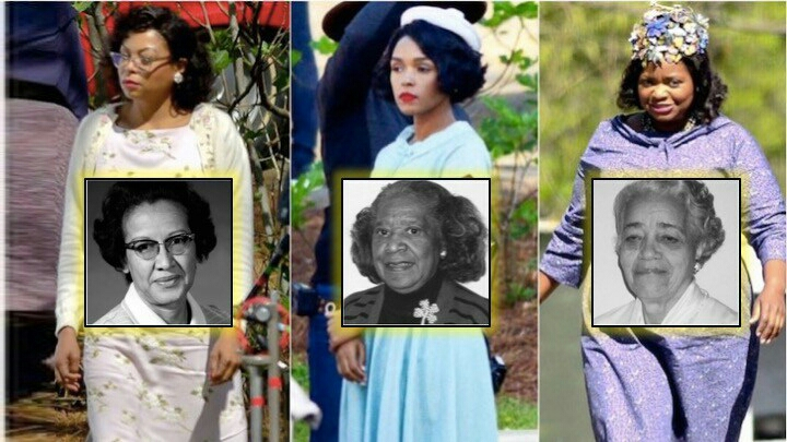 Taraji, Octavia and Janelle are pictured with the real Katherine Johnson, Mary Jackson and Dorothy Vaughn.