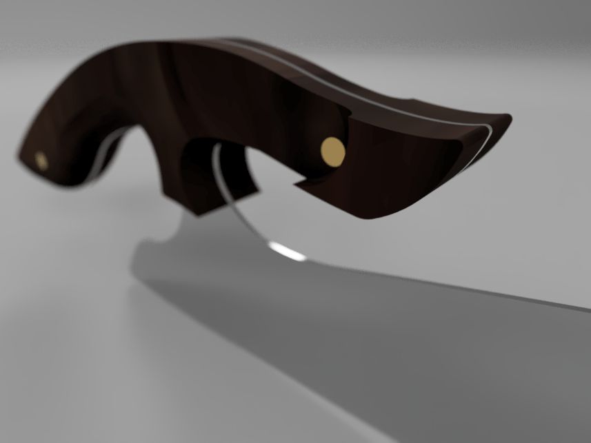 A detail of my 3D model, highlighting the handle.