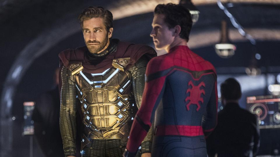 This image released by Sony Pictures shows Jake Gyllenhaal, left, and Tom Holland in a scene from Spider-Man: Far From Home. (Jay Maidment/Columbia Pictures/Sony via AP)