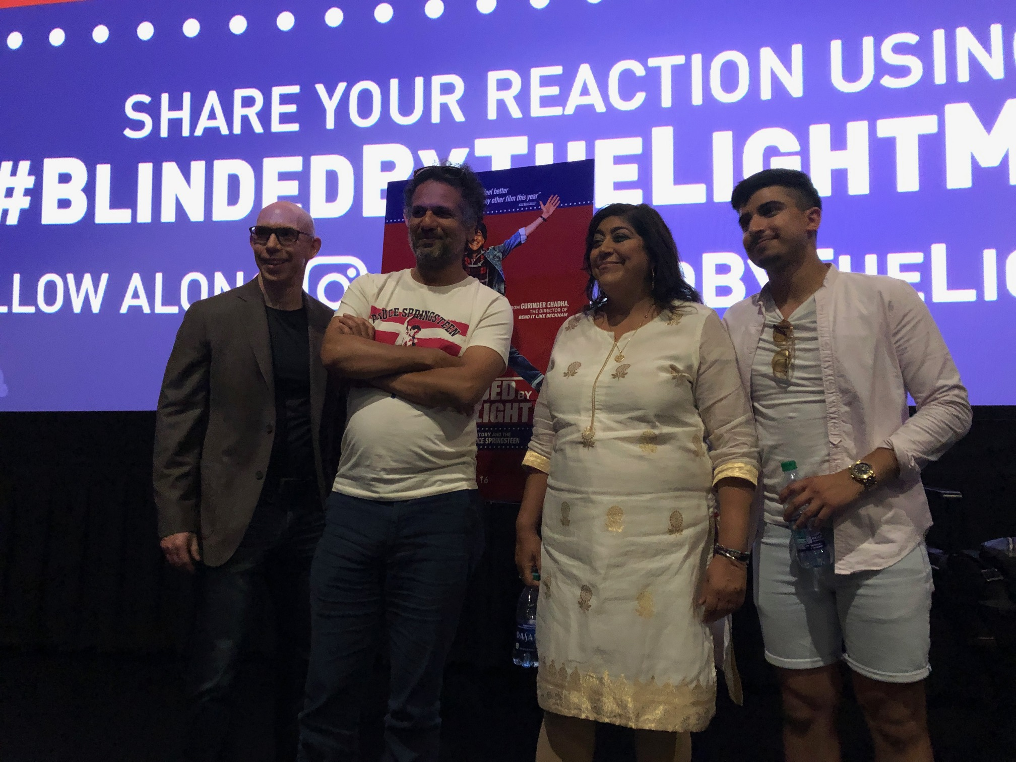 Jeff Mitchell with writer Sarfraz Manzoor, director Gurinder Chadha , and actor Aaron Phagura.