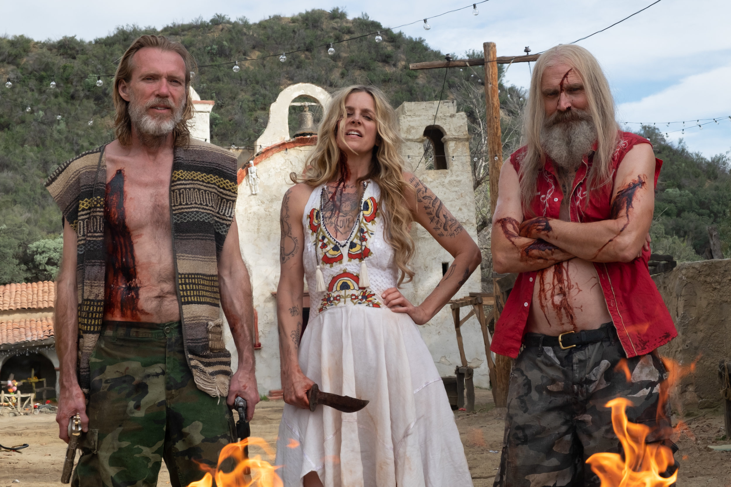 "Richard Brake as Winslow Foxworth Coltrane, Sheri Moon Zombie as Baby Firefly and Bill Moseley as Otis Firefly on the set of, ""3 FROM HELL,"" a Lionsgate / Saban Films release."