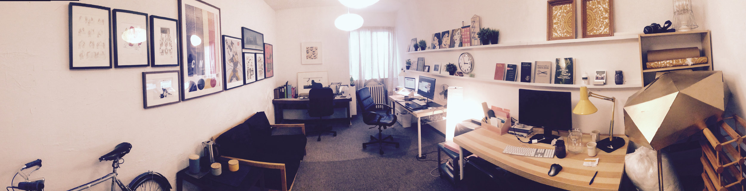 Panorama: This is what my studio looks like as you walk in!