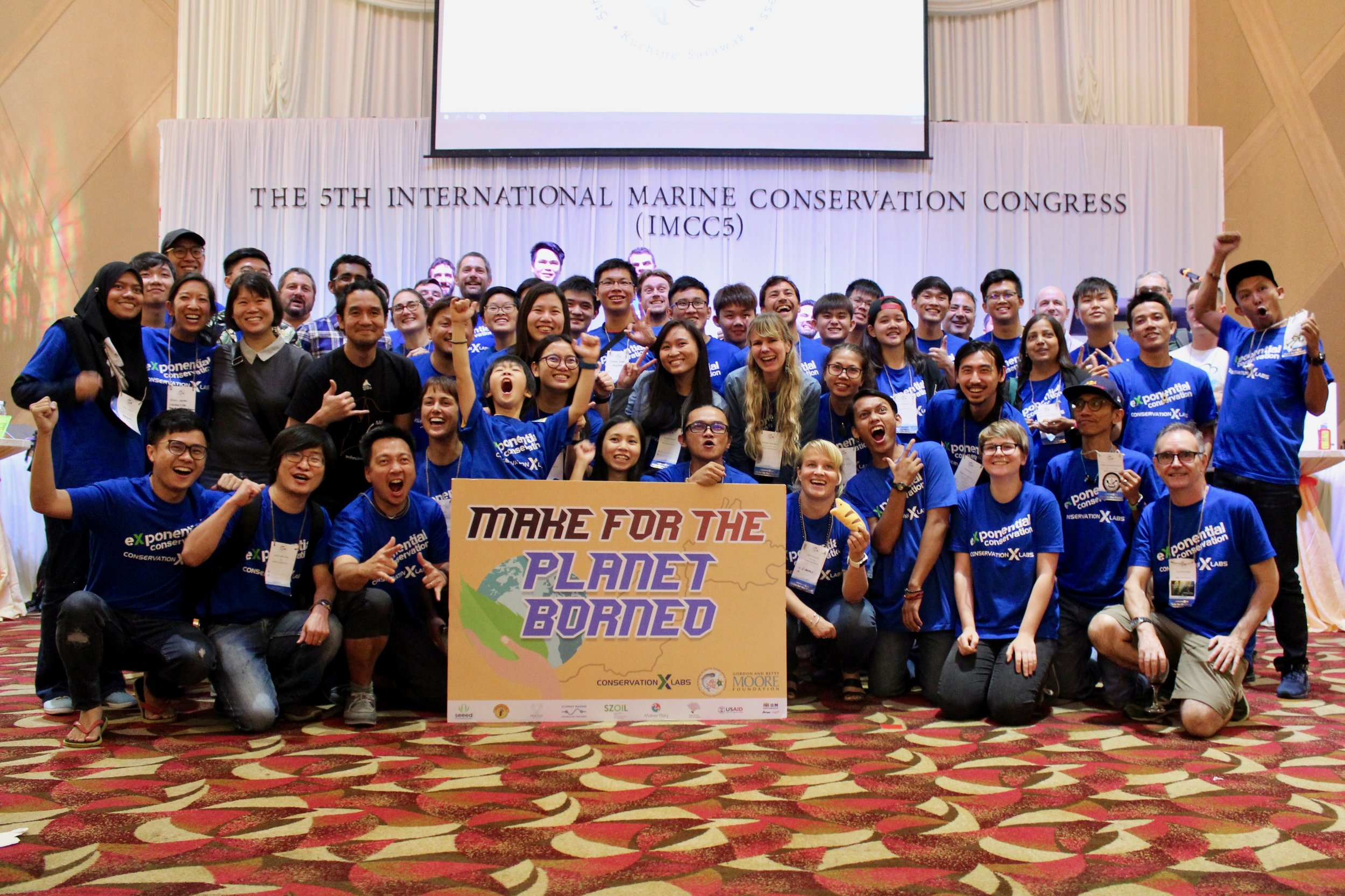 The Make for the Planet Borneo participants celebrate a successful competition. 2018