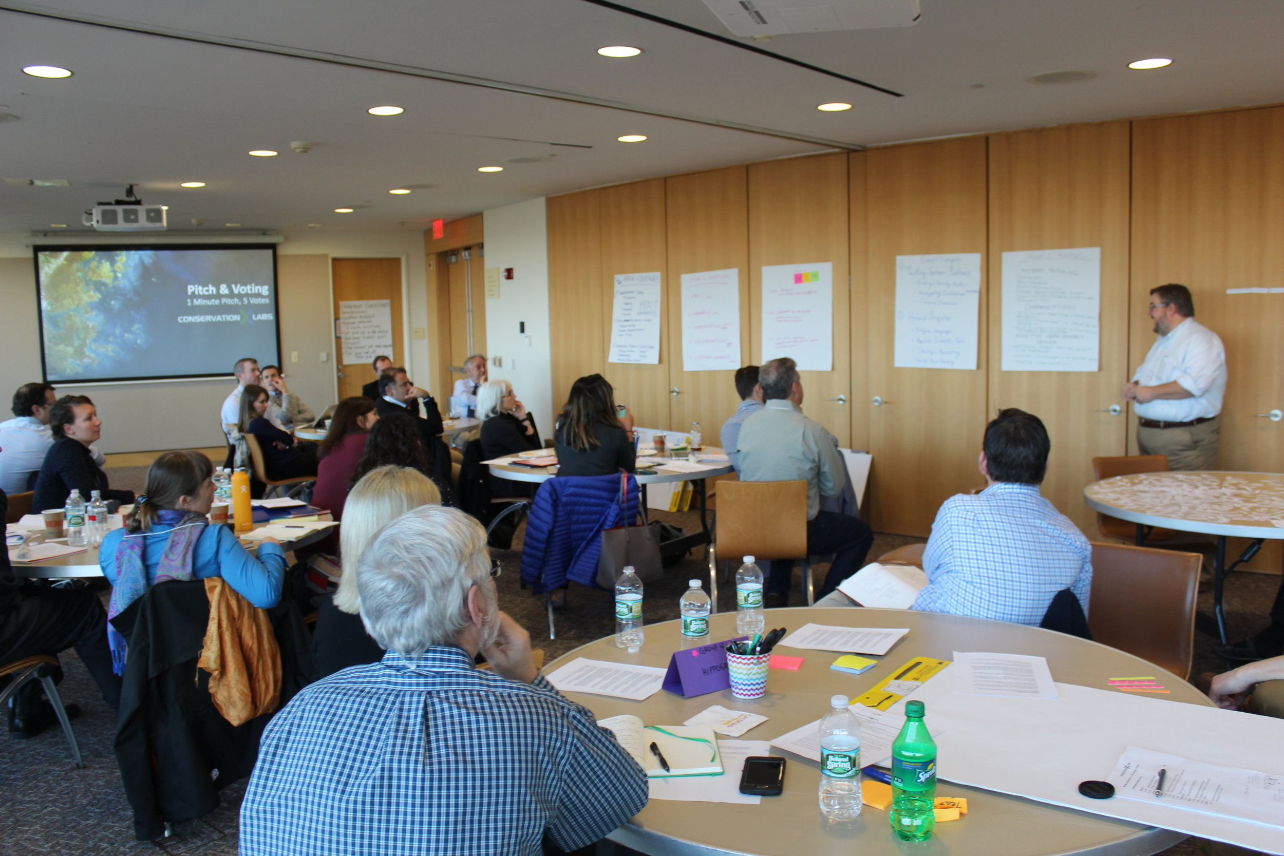 Faculty pitch their group's conservation curriculum core following inter-institutional exchange.