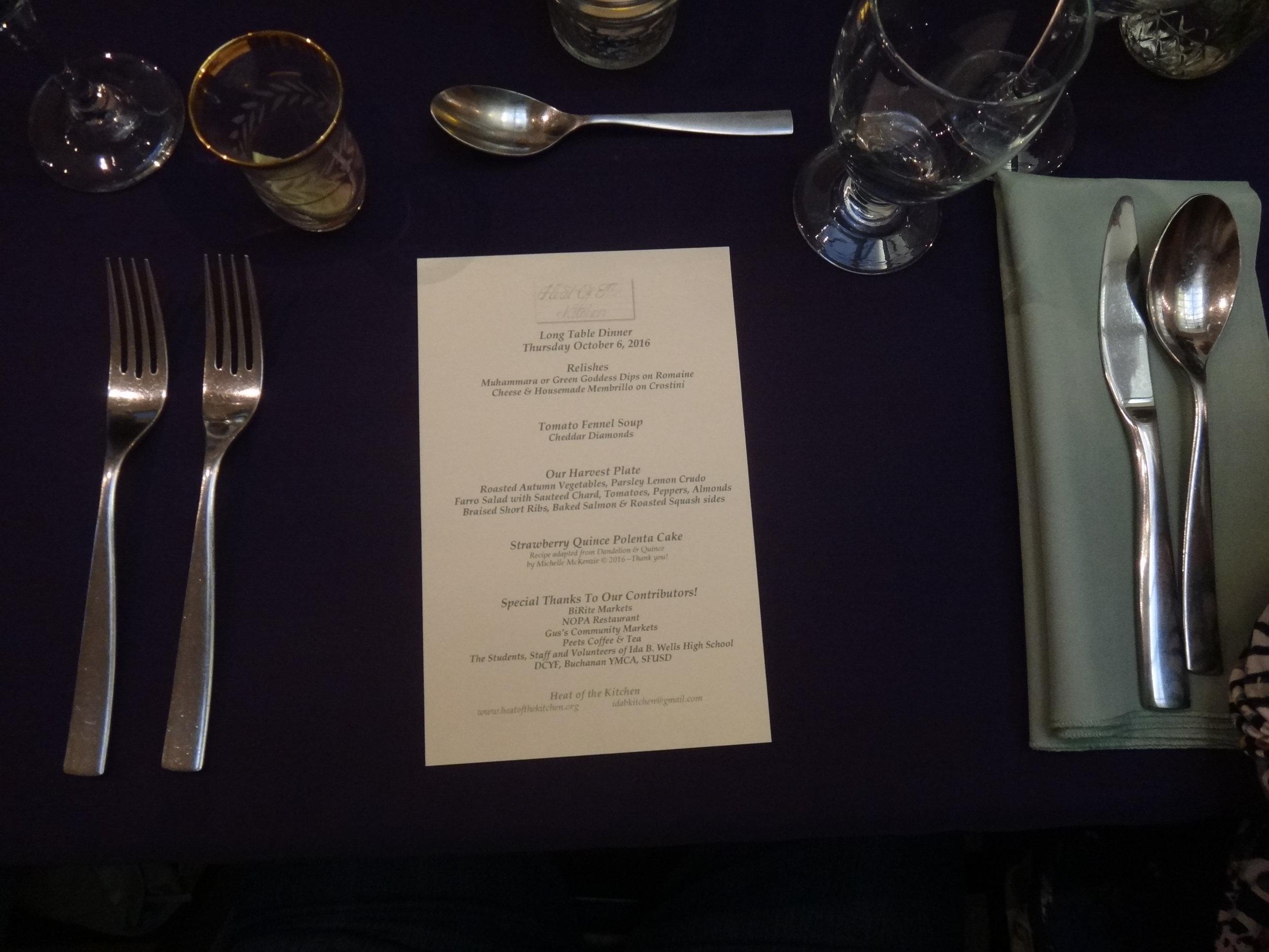 Four course menu.