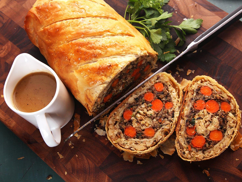 Photo: Serious Eats: Vegetables Wellington (The Ultimate Vegan Plant-Based Holiday Roast)
