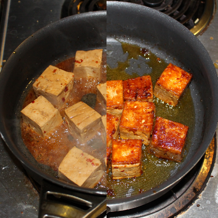 After adding the oil, marinade and tofu (L). After all the marinade has evaporated and the tofu is starting to brown (R).