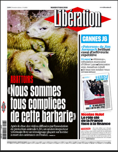 """The recent 6-page cover story on one of France's top newspapers says: """"Slaughterhouses, we are all accomplices of this atrocity."""" In her video """"Dear Vegans,"""" Nicole Arbour imitates the voices of the lambs and sheep she eats and wears."""