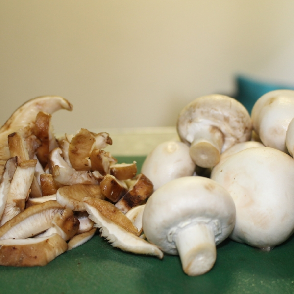 Shiitake mushrooms and button mushrooms. Instead of just button mushrooms you could use portobello mushrooms or oyster mushrooms or crimini mushrooms or a mix of them all.