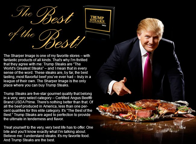 """The mentality behind Trump's now defunct steak company, which sold dismembered pieces of only the most """"elite""""objectified bodies who were trapped in the most resource-intensive human undertaking on our planet before being violently killed,speaks volumes."""